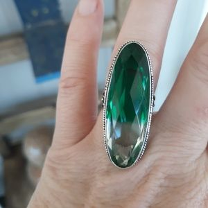 Rare Colorless Tourmaline Silver Ring. Size 6.75